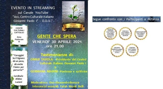 """Serata online """"GENTE CHE SPERA"""" – Testimonianze"""